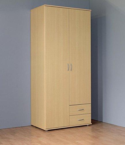 Kleiderschrank 2-türig mit 2 Schubladen Buche Dekor