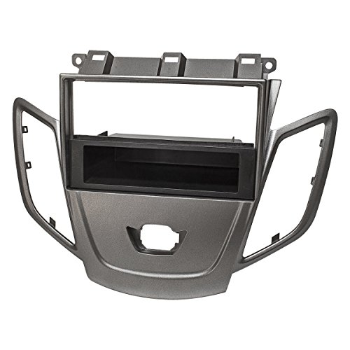 tomzz Audio 2415-101 Radioblende für Ford Fiesta JA8 ab 2009-2017 dunkelsilber mit DIN Ablagefach ohne Display