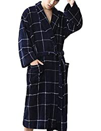 Rosatro Men's Home Nightgown Pajamas Robe Casual Checked Plaid Stitching Long Bathrobe Lounge Nightwear Suit Top