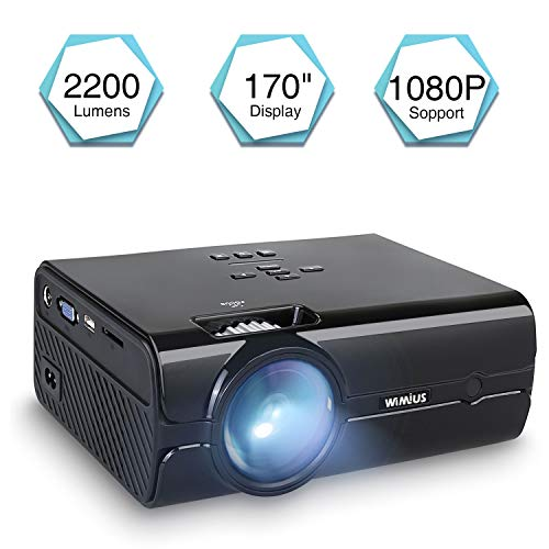 Vidéoprojecteur, WiMiUS T8 Mini Projecteur HD Portable Retroprojecteur LED 2200 Lumens Support 1080P Projector LCD Home Cinéma Compatible avec Interfaces HDMI USB VGA AV SD