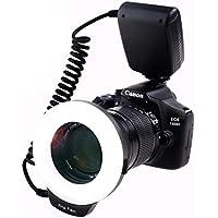 Ring Flash, 18 Luz de Flash del Anillo de la Macro LED Macroeconómico-LED-Anillo de Luz RF-600D ( 3 Veces el Brillo de 48pcs LED Anillo Flash ) para Canon Nikon Panasonic Olympus Pentax SLR Cameras