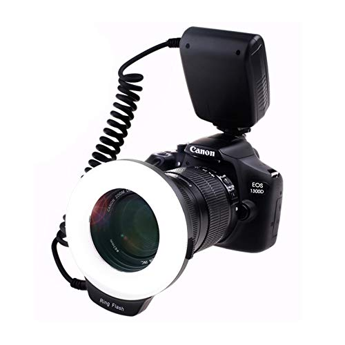 Ringblitz für Canon Nikon Panasonic Olympus Pentax SLR Kameras, 18 Makro LED Ring Blitzlicht Ringblitzleuchte Ringblitz RF-600D Enthält 4 Diffusoren (klar, wärmend, blau, weiß), mit Adapterringen