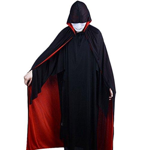 Damen Herren Halloween Umhang Mit Kapuze Halloween Kostüm Lange Samt Bekleidung Fasching Karneval Kostüm Cosplay Requisiten Set für (Braut Kostüme Erwachsene Reaper)