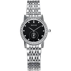 HongBoom Luxury Stainless Steel Band Wrist Watch 30m Waterproof Women's Casual Business Analogue Quartz Zircon Wristwatch