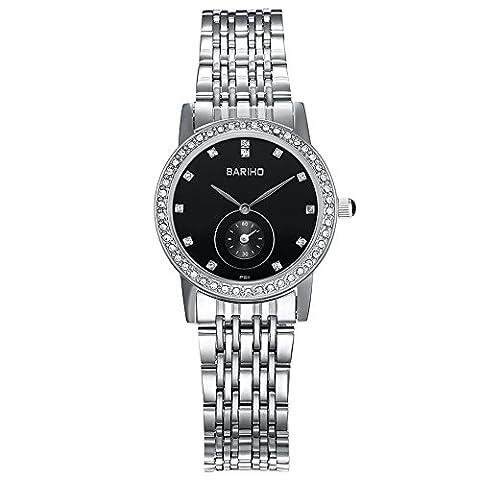 Hongboom Luxe Bracelet en acier inoxydable montre bracelet étanche à 30m pour femme décontracté Business zircon Quartz Analogique Montre-bracelet