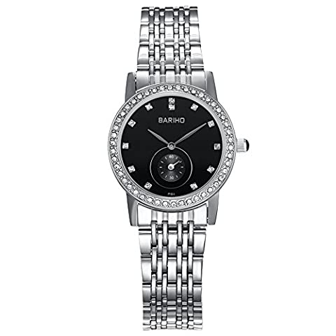 HongBoom Luxury Stainless Steel Band Wrist Watch 30m Waterproof Women's Casual Business Analogue Quartz Zircon