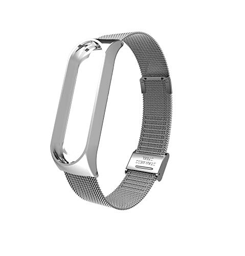 Iloft Stainless Steel Luxury Wristband Metal Strap for Xiaomi Mi Band 3 / Mi Band 4(Device Not Included)