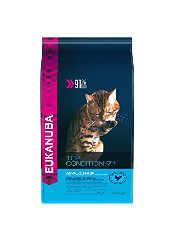 Eukanuba Premium Katzenfutter für ältere Katzen, Trockenfutter mit Huhn (1 x 2 kg)