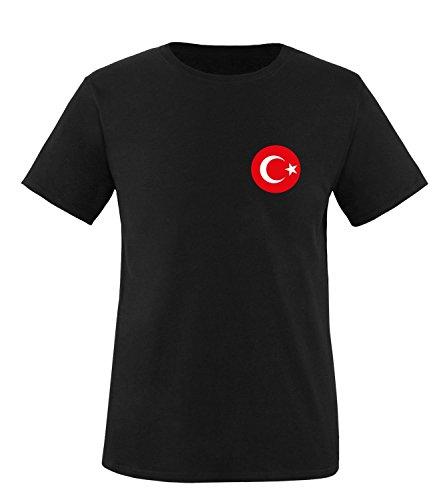Luckja EM 2016 Trikot Türkei Fanshirt EM02 Herren Rundhals T-Shirt Schwarz/Rot/Weiss