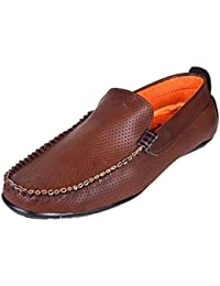 Brothers Imports & Exports Mens Fashion Brown Leather Loafers 9 UK