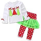 ZARU Árbol de navidad del bebé recién nacido Impreso de manga larga Top Trajes Set (1PC 1PC camisa + bragas)