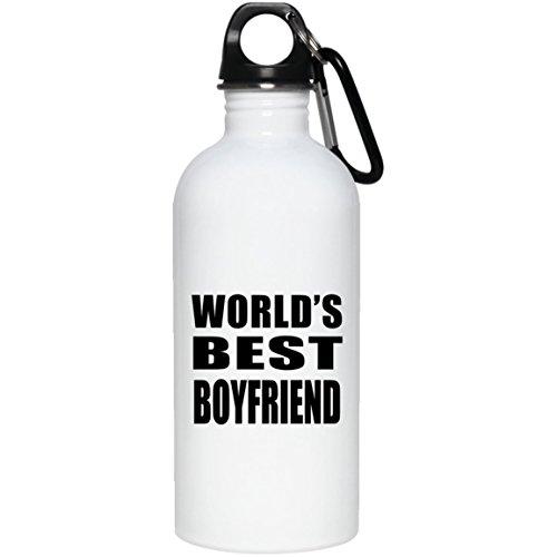 Designsify Worlds Best Boyfriend - Water Bottle Wasserflasche Edelstahl Isoliert Thermosflasche - Geschenk zum Geburtstag Jahrestag Muttertag Vatertag Ostern