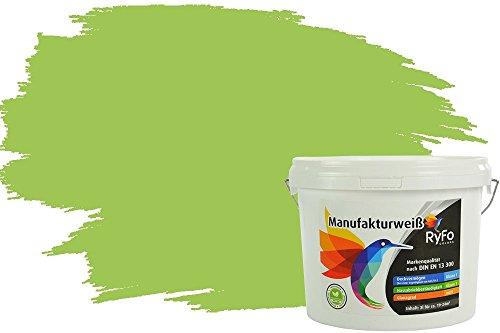 RyFo Colors Bunte Wandfarbe Manufakturweiß Limonengrün 3l - weitere Grün Farbtöne und Größen erhältlich, Deckkraft Klasse 1, Nassabrieb Klasse 1