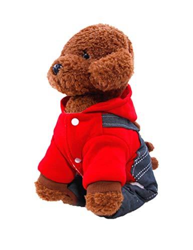 Zhhyltt Haustier Hund Katze Sweatshirt Hündchen Winter Mantel Bear Cub Trägerhose - Hund Warm Hoodies Mantel Kleider Bekleidung für Klein und Mittel Hunde Katzen