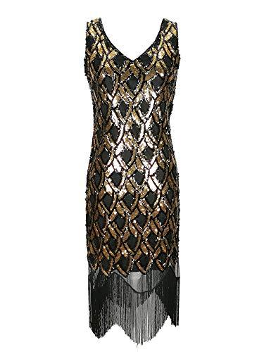 1920er Jahre Gold schwarz Flapper Gatsby Phantasie Fransen Womens langes Kleid Damen Größe 1920 Pailletten Vintage Art-Deco-Party Kostüm (Schwarz Gold, EU - Schwarze Fransen 1920 Flapper Kostüm