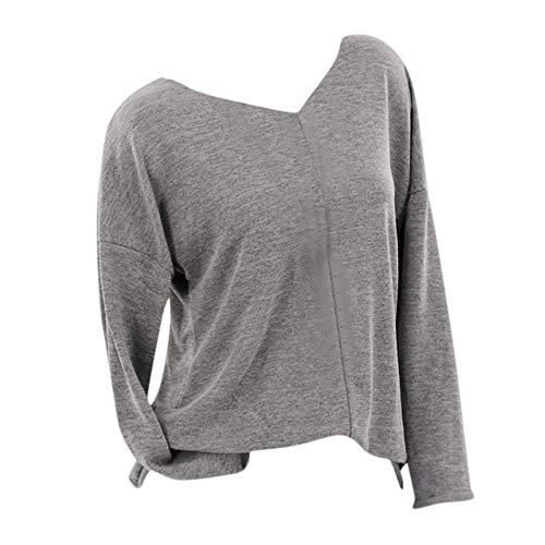 iHENGH Vorweihnachtliche Karnevalsaktion Damen Herbst Winter Bequem Lässig Mode Frauen beiläufiges strickendes festes langes Hülsen T-Shirt mit V Ausschnitt Strickjacke Bluse