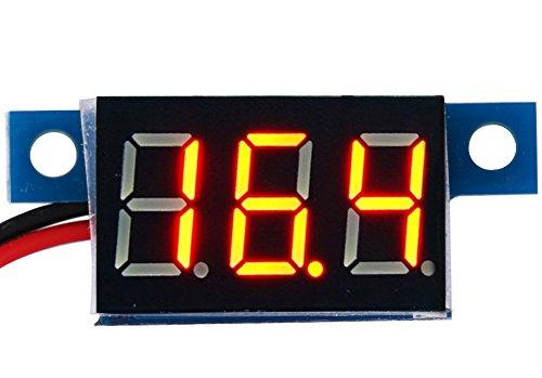 """Mini-Voltmeter,Yeeco 0.36\""""Digital Spannung Meter DC 3V~30V 12V Prüfer LED-Panel Voltmeter,Messbereich DC 3-30V 2 Draht Auto-Motorrad-Batterie-Monitor-Lehre(Rot)"""