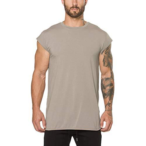 (iLPM5 Hemd Herren SommermodeHerren T-Shirt mit kurzen Ärmeln Sommer Lässige Loose Fit Bodybuilding Fitness Tee Top Shirt (Beige, CN-L/EU-S))