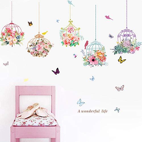 Jaula y Flores Pegatinas de pared vinilo adhesivo decorativo para las niñas habitación de niño Wall Stickers salón dormitorio TV fondo Inicio, Sencillo Vida