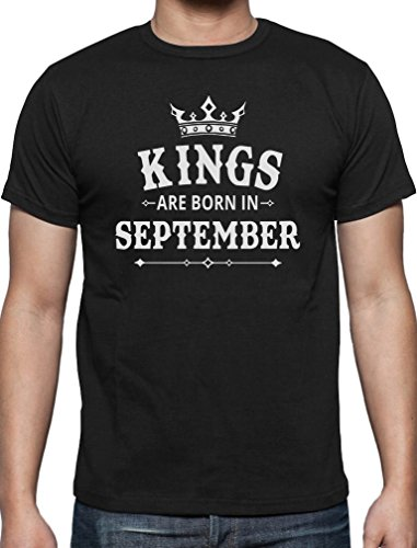 Geschenk T-Shirt für den Mann - Kings are born in September T-Shirt Schwarz