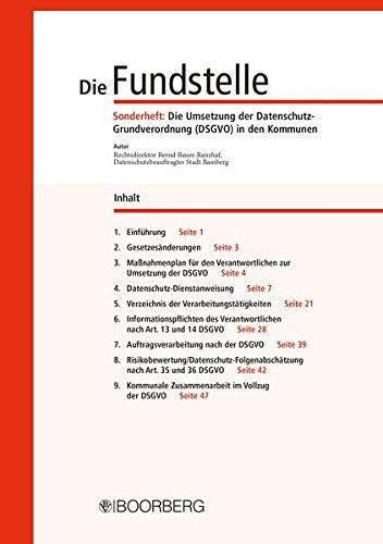 Die Fundstelle: Sonderheft: Die Umsetzung der Datenschutz-Grundverordnung (DSGVO) in den Kommunen