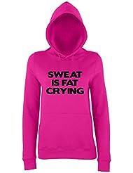 SWEAT IS FAT CRYING Ladies Pink Hoodie