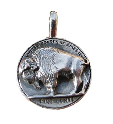 925Silber Buffalo Amerikanischer indischen US 5Cent-Münze Bild Anhänger Halskette (Indische Cent-münze)