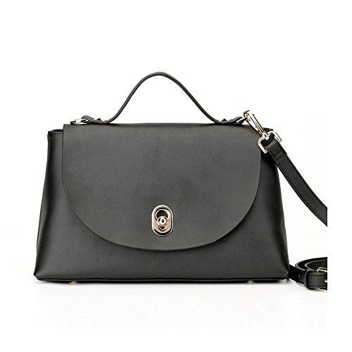 Flap convertibili Sheli da donna in vera pelle Croce Corpo Borsa Pochette Borsetta, colore: bianco e nero, nero