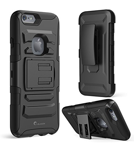 iPhone 6s Plus Hülle, i-Blason Apple iPhone 6/6s Plus Case Schutzhülle Tasche 5.5, Prime Serie 2-Schicht Holster Hülle mit Standhälter, schwenkbaren Gürtel mit Locking-Mechanismus für iPhone 6 Plus (schwarz)