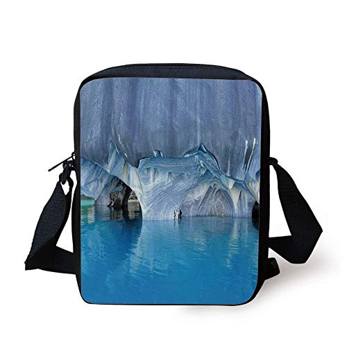 Blue,Marble Cave General Carrera Lake in Chile Natural Wonders Rocks Azure Water,Blue Purplegrey White Print Kids Crossbody Messenger Bag Purse