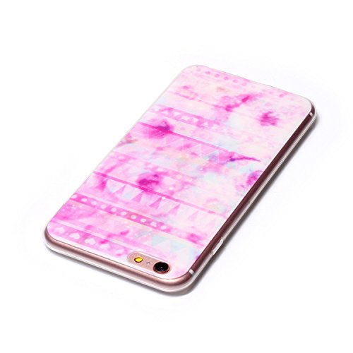 iPhone 6s Hülle,Transparent Silikon Bumper für iphone 6,Ekakashop Ultra dünn Slim Modisch Durchsichtig Finger Muster Weiche Silikon TPU Flexible Gel Crystal Back Case Defender Protective Schutzhülle m Rosa Streifen