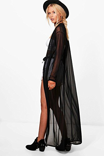 Damen Schwarz Sophie Maxi-kimono Aus Netzstoff Schwarz