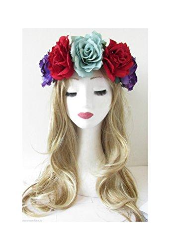 Starcrossed Beauty V92 Grand bandeau à cheveux avec roses de style festival/violet et rouge