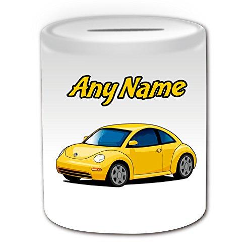 Personalisiertes Geschenk–Gelb Käfer Spardose (Design Thema, weiß)–Für jede Nachricht/Name auf Ihrem Unique–VW Volkswagen Fahrzeug Auto Automobil Bug Cute Treiber Automarke (Penny-treiber)