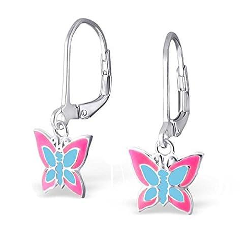 SL-Collection Boucles d'oreilles pour enfants–Papillon bleu rose Argent 925