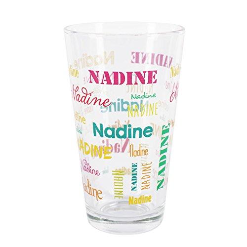 Herz & Heim® Trinkglas mit Namen in verschiedenen Schriftarten und Farben Bunt