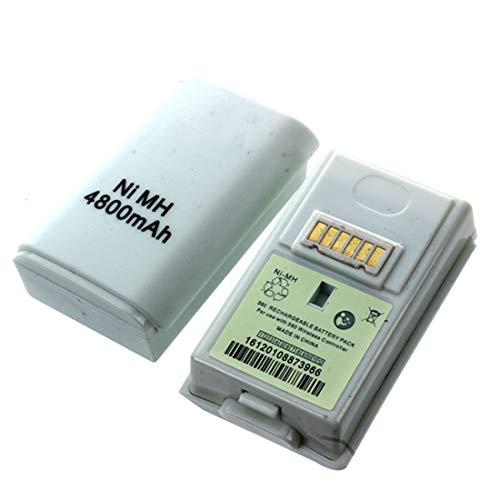 Cikuso 2 PCS Batteria 4800mAh Ricaricabile per Joypad Wireless Controller Xbox 360 Bianco