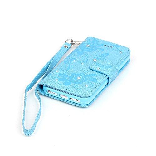 iphone SE 5 5s 5C Coque Rabat,Cozy Hut Apple iPhone SE 5 5S 5C Bling scintillant diamants Pretty Colorée Peinture Designs Papillon de fleurs couleur Motif Clapet Case avec Fonction de debout et fentes bleu
