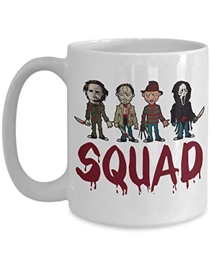 Squad Coffee Mug - Squad Michael Myers Jason Voorhees Freddy Krueger Leatherface - Halloween, Squad Horror Movies, Novelty Present, Unique Coffee Mug
