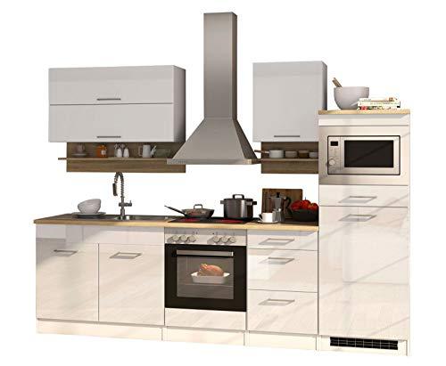 lifestyle4living Küche mit Elektrogeräten 270cm   Küchenzeile Küchenblock Einbauküche E-Geräte   Hochglanz Weiß/Eiche Sonoma