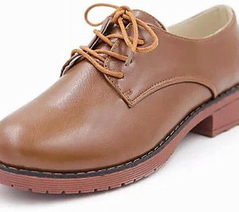 NJX/ Zapatos de mujer-Tacón Robusto-Plataforma / Punta Redonda-Oxfords-Oficina y Trabajo / Vestido / Casual-Semicuero-Negro...