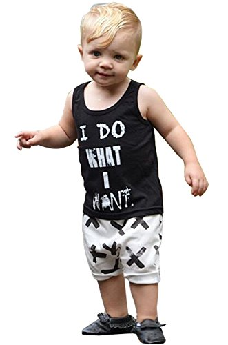 Kids Baby Boys Top T-shirt +Cross Print Pants Outfits Clothes Set (90 for 1-2 years)