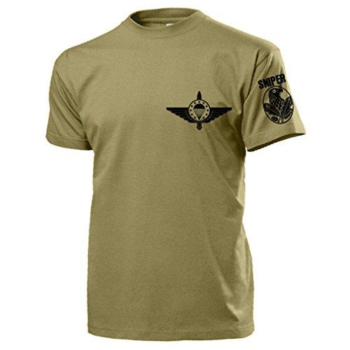 EMFV Sniper Europäischer Militär Fallschirmsprungverband Scharfschütze Lehrgang Kurs Ausbildung Abzeichen Emblem Schießen - T Shirt Herren khaki #17446 (Force Air Abzeichen Us)
