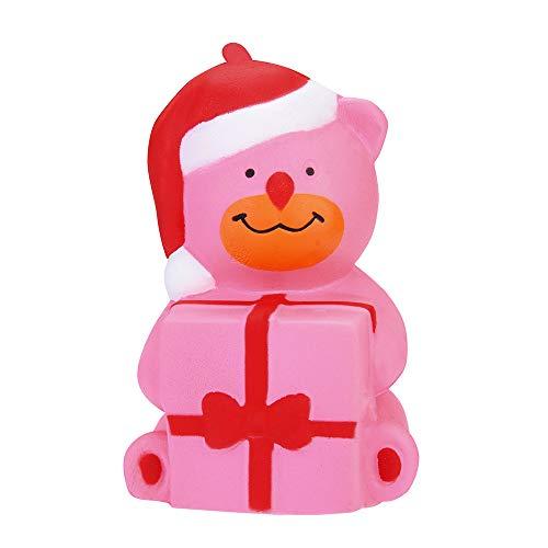 VENMO Weihnachtsbär duftende Squishies Langsam Steigende Spielzeug Stressabbau Spielzeug Requisiten Heilspielzeug Stressabbau Decor Steigenden Spielzeug für Kinder Erwachsene (Rosa)