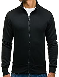 BOLF Herren Sweatshirt Sweatjacke Langarmshirt Stehkragen Zip 1A1 MIX