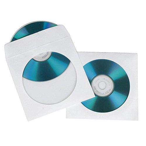 Hama 62672 100 Pochettes simples en papier CD / DVD blanc