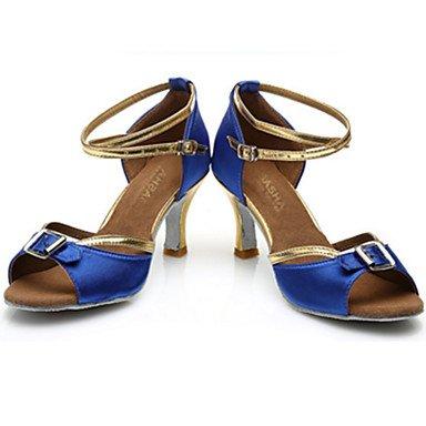 Scarpe da ballo-Personalizzabile-Da donna-Balli latino-americani-Tacco a rocchetto-Raso-Nero Blu Black