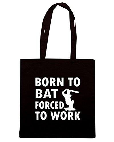 T-Shirtshock - Borsa Shopping OLDENG00421 born to bat forced to work Nero
