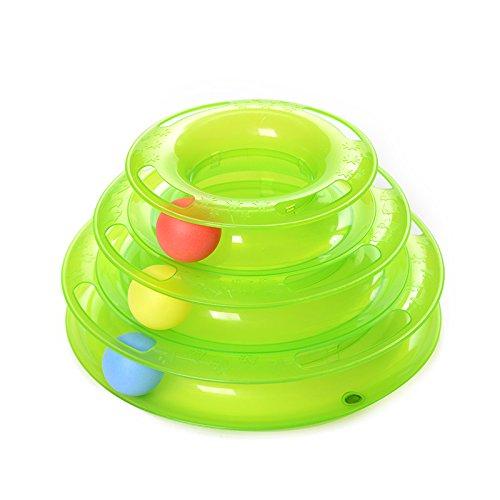 dougez Tower von Musikstücken Drei Schichten mit der Bälle Zeitvertreib Intelligence Katze Spielzeug rutschfeste Design Pet Spielzeug