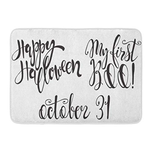 LIS HOME Badematte Halloween Etiketten Inschriften Zitate Happy My First Boo 31. Oktober Inspirierende Schrift Badezimmer Dekor Teppich